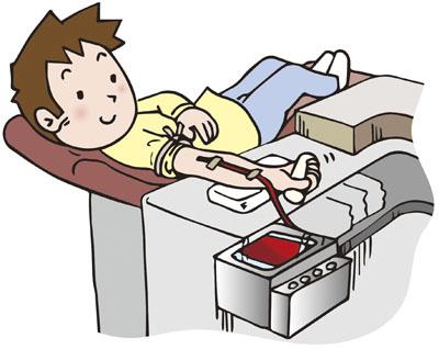 献血しているイラスト