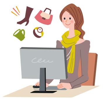 ネットショッピングの女性