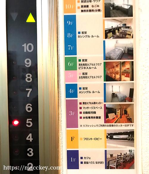 エレベーターのフロアの図